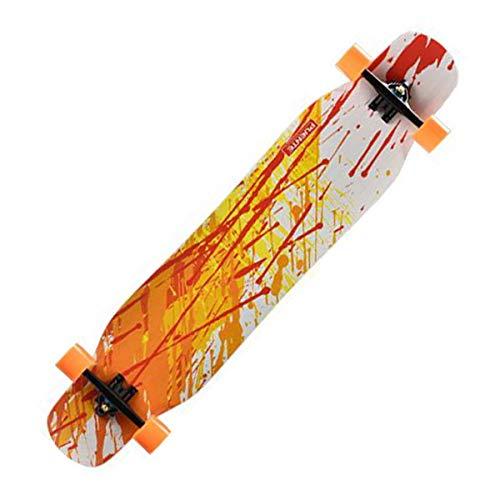 QINGMM 46-Zoll-Longboard Komplett Cruiser (Tropfen-Through Deck - Camber Concave) mit Skateboard Rucksack, Ersatzlagern, T-Werkzeug, Aufkleber, Schmieröl