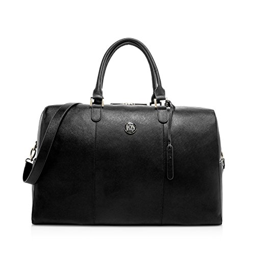 Joy Mangano Women's Jm Metallic Leather Weekender Black Onyx, One Size