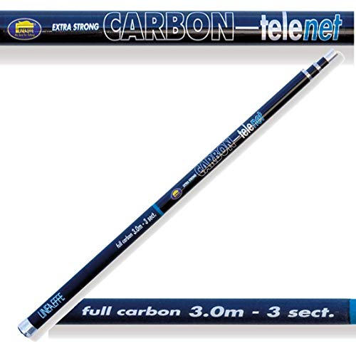 Lineaffe 3m Carbon Landing Tele Net Handle 3 Section Carp Match Pole Fishing