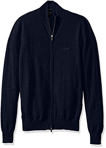 Armani Jeans Herren T-Shirt mit durchgehendem Reißverschluss, Schwarz, Größe L - Blau - XX-Large