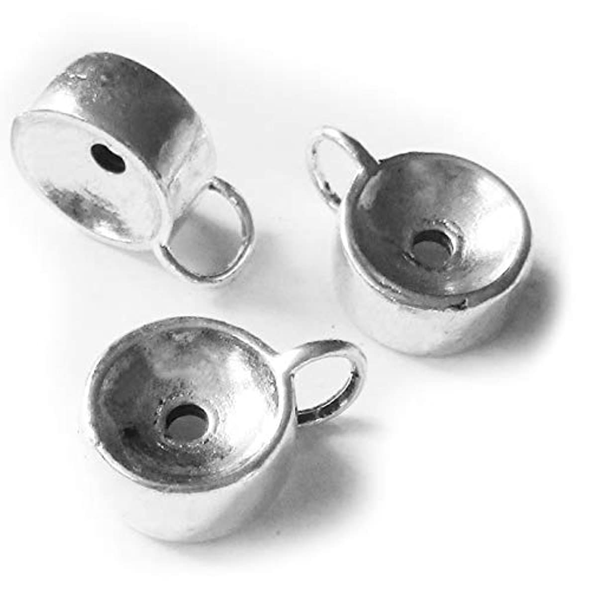 Heather's cf 25 Pieces Silver Tone Drum Bail Closed Loop Spacer Connector Findings Jewelry Making 16X12X6mm