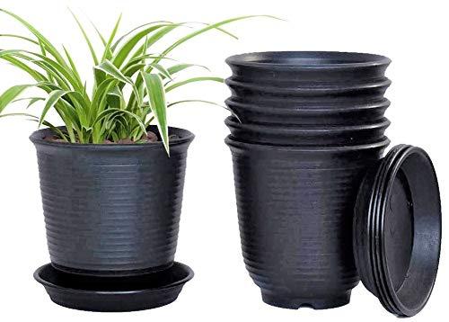 KAHEIGN 6 Pz Vasi Da Fiori In Plastica, 15,5cm Addensare I Vasi Per Piante Contenitore Per Piante Vaso Da Giardinaggio Al Coperto Con Drenaggio Pallet (Nero)