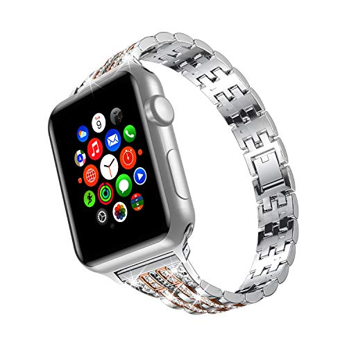 TOWOND Correa Compatible para Apple Watch Correas para Reloj Correa Pulsera de Repuesto de Acero Inoxidable Correa para Hombre Mujer Apple Watch iWatch Series 6/SE/5/4/3/2/1 Blateado Dolado, 38/40mm