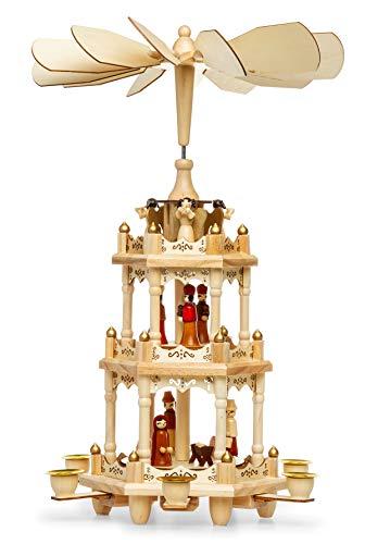 SIKORA P3 Klassische Holz Weihnachtspyramide mit 3 Etagen