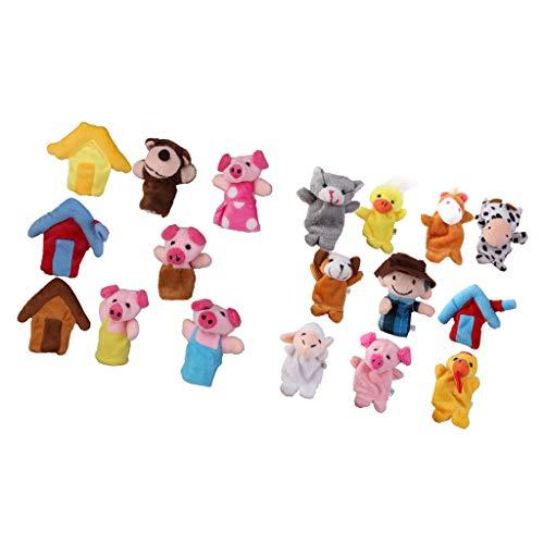 SM SunniMix Tres Cerditos Animales De Granja Marionetas De Dedo Niños Bebé Kindergarten Juguete