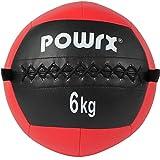 POWRX Wall ball 6 kg - Ideal para ejercicios de »Functional Fitness«, fortalecimiento y tonificación muscular - Agarre antideslizante + PDF workout (Rojo)