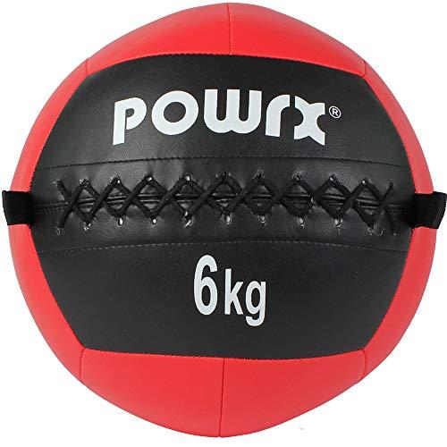 POWRX Wall Ball Balón Medicinal 6 kg - Ideal para Ejercicios de »Functional Fitness«, fortalecimiento y tonificación Muscular - Agarre Antideslizante + PDF Workout (Rojo)