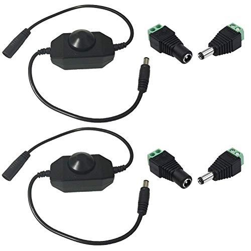 2pcs LED Strip Dimmer Controller DC 12V-24V 6A Atenuador Rotativo en Línea Regulador Tira LED Switch Dimable Interruptor Banda LED Cadena Luces de Cinta LED Conector DC 5.5x2.1mm para Luz LED, Negro