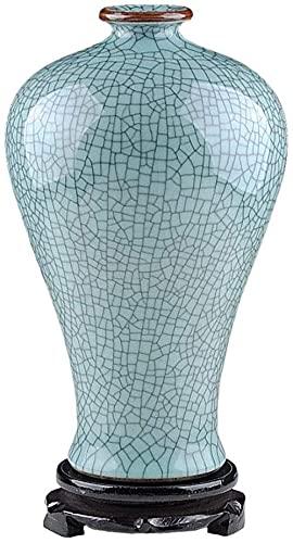HZYDD Florero de cerámica antiguo horno hielo hielo grieta esmalte arreglo de flores nuevo chino clásico decoración del hogar