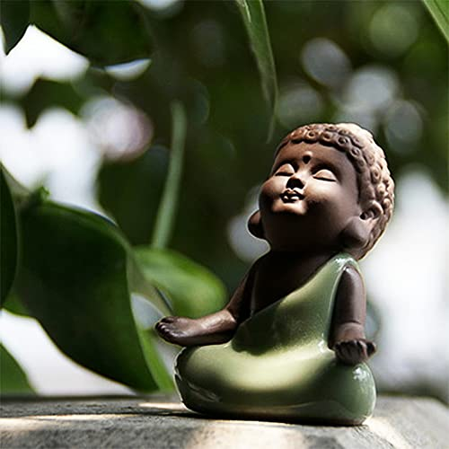 Kingzhuo Ceramic Tiny Cute Baby Buddha Statue Monk Figurine Cute Buddha Babies Baby Buddha Monk Home Decoration Zen Decor Peaceful Rulai Figurine (C)