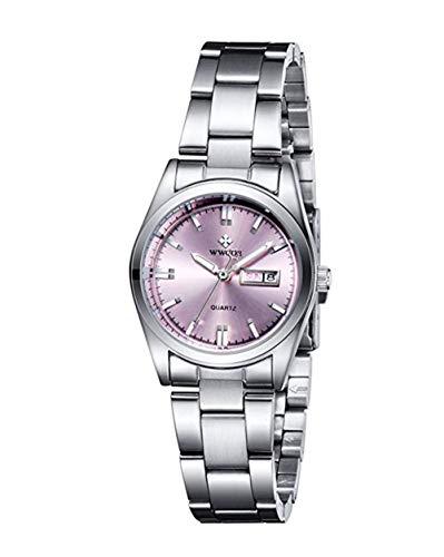 WWOOR - Reloj de cuarzo para mujer, esfera rosa y correa de acero inoxidable, resistente al agua
