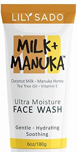 LILY SADO Coconut Milk & Manuka Honey Natural Face Cleanser - Organic Gentle Facial Wash - Moisturizing Vegan Formula Gently Hydrates & Moisturizes - Reduces Pores & Blackheads - for All Skin Types