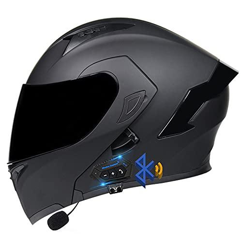 Casco Modulare Bluetooth, Casco da Moto Integrato Omologato ECE, Doppia Visiera per Uomini E Donne Adulti, Modulare Flip Full Face Moto Casco Antiappannamento