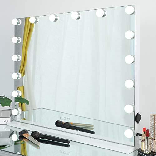 iCREAT Hollywood Spiegel mit 16 Glühbirnen 70X55 cm Luxus-Edition groß Schminkspiegel mit Beleuchtung Theaterspiegel Tischspiegel mit LED Licht beleuchtet Kosmetikspiegel mit einstellbar Licht