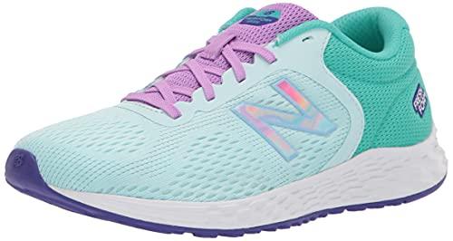 New Balance Girls Fresh Foam Arishi V2 Lace-Up Running Shoe, Pale Blue Chill/Summer Jade/Heliotrope, 4 Big Kid