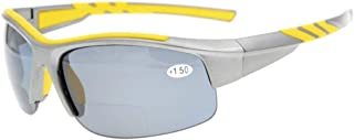 Eyekepper TR90 Unbreakable Sports Bifocal Half Rimless Sunglasses Baseball Running Fishing Driving Golf Softball Hiking Grey Frame Grey Lens +2.75