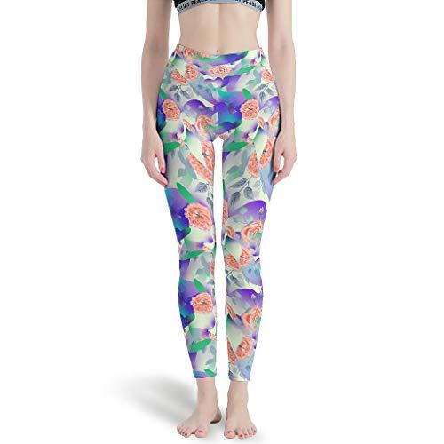 WJunglezhuang lange leggings yogabroek meisjes plant bloem grafisch joggingbroek voor atletische tafels