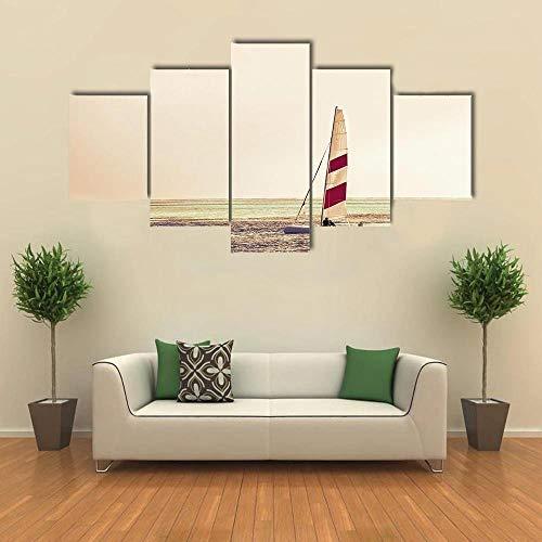 QWASD Tabla De Windsurf 5 Piezas Cuadro sobre Lienzo De Fotos Instrumento Lienzo Impresión Cuadros Decoracion Salon Grandes Cuadros para Dormitorios Modernos Mural Pared Listo para Colgar