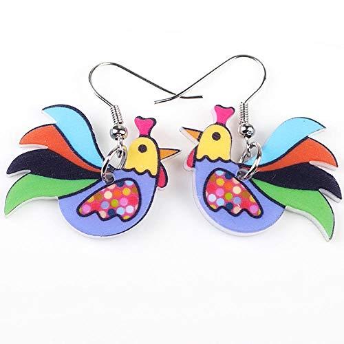 N\A Pendientes de Pollo Pendientes de acrílico Pendientes de Cuerno Grande niñas Damas Accesorios de joyería Estilo de Moda Multicolor