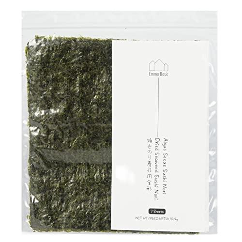 Emma Basic - Confezione di alghe nori, fresche e croccanti, di alta qualità, leggermente tostate, alto contenuto di proteine e fibre, basso contenuto di grassi saturi, per sushi