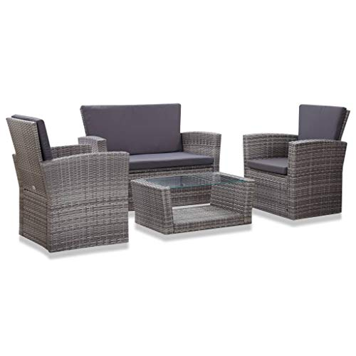 VidaXL 4 Piece Garden Furniture Set and Rattan Cushions Grey