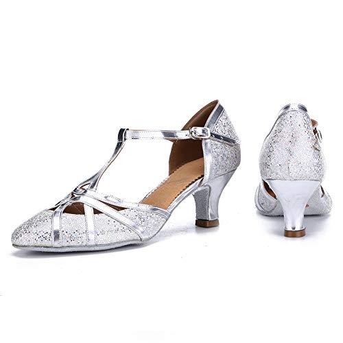 HROYL Damen Tanzschuhe/Latin Dance Schuhe Glattleder Ballsaal Modell-D5-511 Silber 40 EU - 2