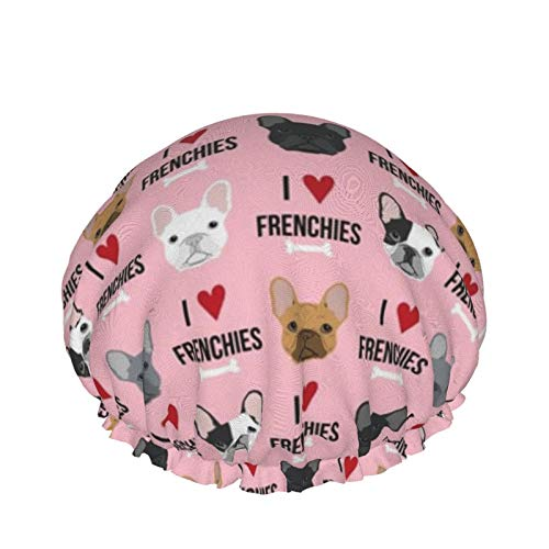 Frenchie Dog I Love French Bulldogs Frenchie Pink Shower Caps For Women, Double Waterproof Layers Bathing Shower Hat Hair Protection Shower Caps Reusable, Medium Size
