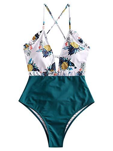 ZAFUL Traje de baño de piña con encaje y cintura alta tropical para mujer verde L