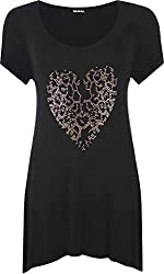 Authentic & Original Only From WearAll Length 79cm Lovely beaded leopard heart design at front Short sleeves with round neck and uneven hanky hem Avaliable in a range of colours to suit any wardrobe