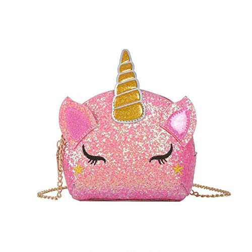 TXVSO Pequeño Brillo Monedero Unicornio Lindo Bolso Cierre de Cremallera para Niñas Adolescentes Mujeres, rosado