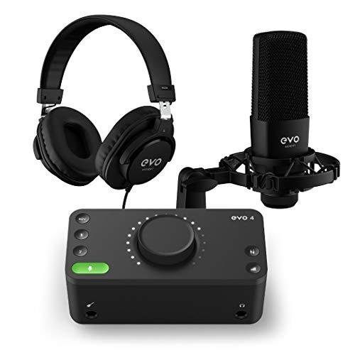 Paquete EVO Start Recording (interfaz de audio EVO 4, micrófono de condensador de diafragma grande SR1, auriculares de estudio cerrados SR2000, cable de conexión XLR), Negro