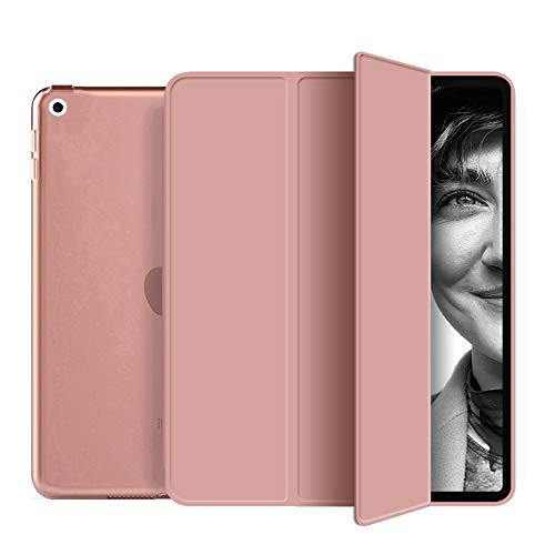 aoub iPad Air (3rd Generation) 2019 Case with Sleep / Wake Function, Hard Shell Soft Edge and Transparent Tri-Fold iPad Ari 3 10.5 Inch Smart Cover, Rose Gold