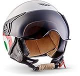 MOTO Helmets H44 - Helmet Casco de Moto , Blanco/Italia, S (55-56cm)