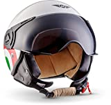 "MOTO Helmets® H44 ""Italy"" · Casco · Jet omologato Moto Demi-Jet Vintage Scooter Motorino Motocicletta Helmet Piloto Urbano Helm Urban Retro · ECE 22.05 Visor Click-n-Secure Borsa M (57-58cm)"