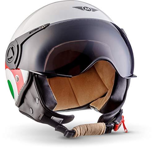 "Moto Helmets® H44 ""Italy"" · Jet-Helm · Motorrad-Helm Roller-Helm Scooter-Helm Bobber Mofa-Helm Chopper Retro Cruiser Vintage Pilot Biker Helmet · ECE Visier Schnellverschluss Tasche XS (53-54cm)"