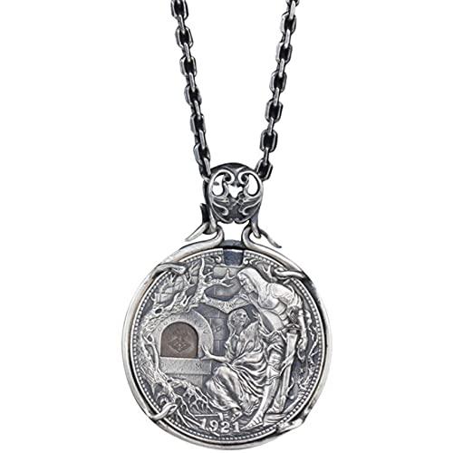 QLJYT Colgante de Monedas Santo Grial, 925 Figura de Plata Esterlina Estatua Collar Colgante Joyería para Mujeres Hombres Regalo de San Valentín