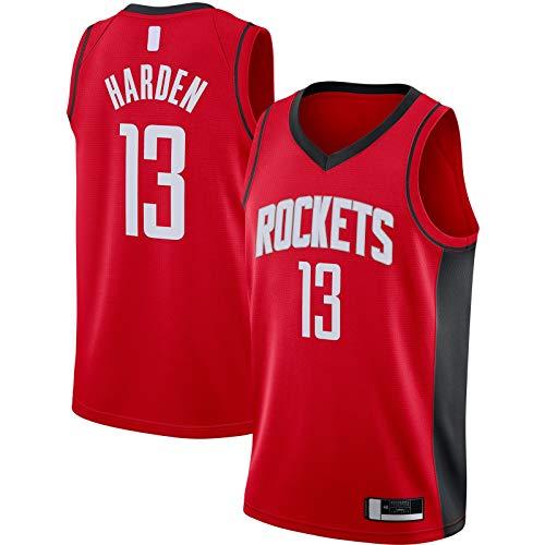 OYFFL LBJ Jersey De Baloncesto Harden Bordado Houston Custom Rockets Traning Jersey #13 2020/21 Swingman Jersey Rojo - Icono Edition-M