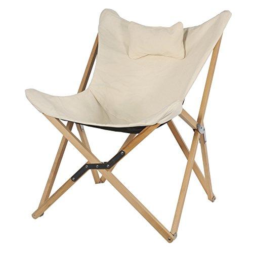 Preisvergleich Produktbild Lesli Living Sessel Naturel Holzgestell klappbar Schmetterling Stuhl Loungesessel 99x73x81cm