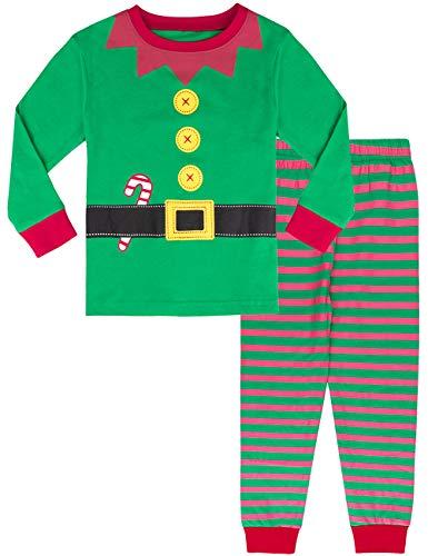 MOMBEBE COSLAND Pijama Duende de Navidad Niño Manga Larga Estampada (Duende de Navidad, 6 años)