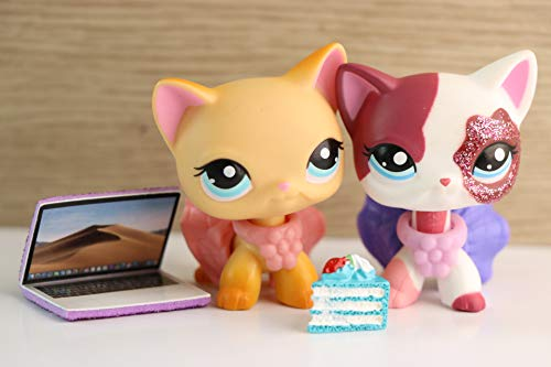 YWH lps Shorthair 2291 339, 2pcs Kitty Pink and Yellow Cats with lps Accessories Dress Laptop Cake Kids Gift
