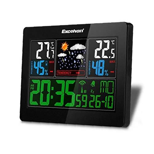 CULER Digital-Feuchtigkeits-Radio Controlled Tischuhr Wetterstation Kalender Alarm Vorhersage Temperatur Snooze Thermometer