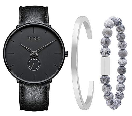 BUREI Reloj de pulsera de cuarzo minimalista para hombre, correa de malla de acero inoxidable con brazalete de acero de titanio negro y cuentas azules