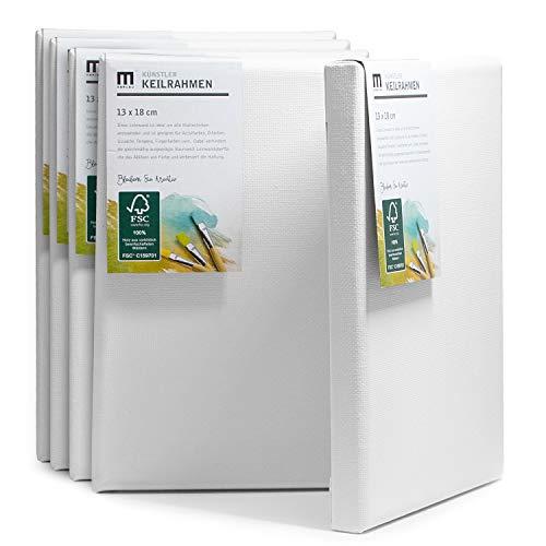 5er-Set 13x18cm Künstler-Leinwand Canvas zum Bemalen. Die Leere, weiße Leinwand aus 100% Baumwolle ist umlaufend aufgespannt auf FSC® Holz-Keilrahmen mit 17mm Stärke, 280g/m², 2-Fach weiß grundiert