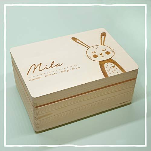 Personalisierte Erinnerungsbox Box Aufbewahrungsbox Erinnerungskiste mit Namen Holzkiste für Kinder Geschenkbox Geschenkidee für Jungs Mädchen Hase Weihnachten Geburtstagsgeschenk hellomini