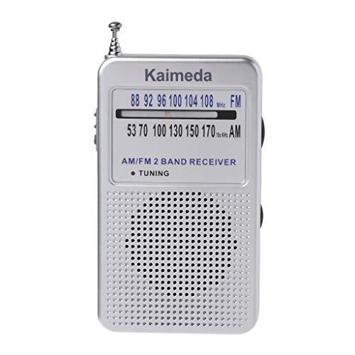 kdjsic Receptor portátil de Radio de Bolsillo con Pantalla Digital Am/FM de 2 Bandas Compatible con Modo estéreo