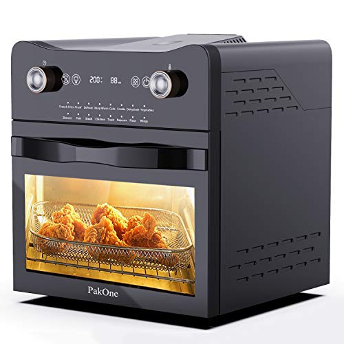 PakOne Single Wall Oven, Air Fryer Toaster Oven,14.7-Quarts Premium 16-in-1 Cooking Functions Electric LED Digital Display Touch Control Upgrade Wall Oven, Knob Control, Air Fryer, with Additional Accessories, Stainless Steel Black