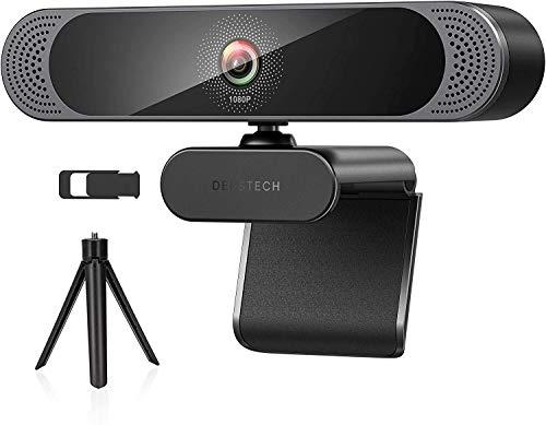 DEPSTECH Webcam mit Mikrofon 1080p Full HD Kamera mit Stereo Dual Mikrofon USB Plug & Play, Objektivdeckel und Stastiv für PC, Konferenz, Videochat, Streaming und Aufnahme kompatibel mit Windows, Mac