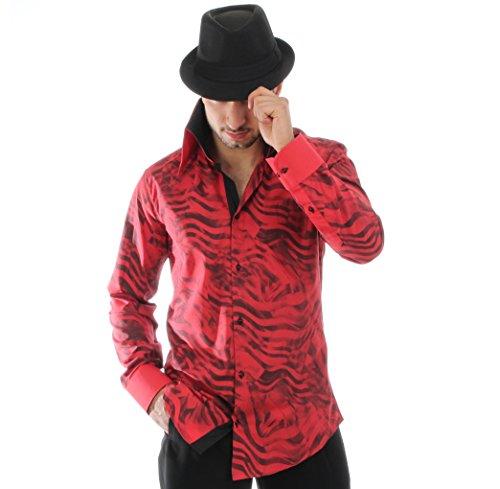 H K Amandel Rock 'n' Roll - Era hemd in rood/zwart patroon, voor heren beste kwaliteit, show- en podiumhemd lange mouwen slim fit