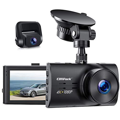 """Campark Dual Echte 4K Dashcam vorne und Hinten, 3\"""" Autokamera mit 300° Weitwinkelobjektiv, Bewegungserkennung, Parküberwachung, Dual Dashcam mit Loopfunktion, G-Sensor und WDR Nachtsicht, Max. 256GB"""