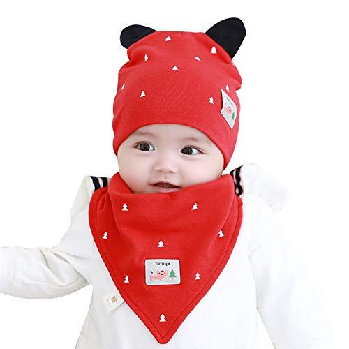 FOLDING Sombreros Gorras Sombrero del bebé Toalla de la Saliva Set del Muchacho del Invierno calientan la Muchacha del niño Orejeras Sombrero de los niños (Color : Forest-Red, Size : L)